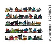 set of houses  sketch for your... | Shutterstock .eps vector #522988765