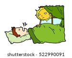 tired lazy man sleep in the bed ... | Shutterstock .eps vector #522990091