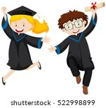 two graduated students jumping... | Shutterstock .eps vector #522998899