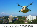 delivery drone with the... | Shutterstock . vector #523003804