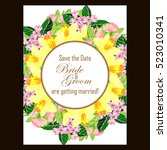 invitation with floral... | Shutterstock . vector #523010341