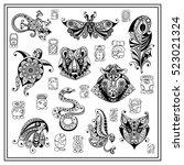 maya art boho vector... | Shutterstock .eps vector #523021324