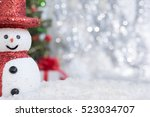 Snowman On Snow Over Blurred...