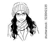 fashionable stylish womanwith... | Shutterstock .eps vector #523042135