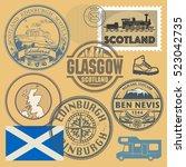 travel stamps or symbols set ...