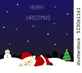 christmas card with santa claus ... | Shutterstock .eps vector #523061161