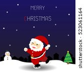 christmas card with santa claus ... | Shutterstock .eps vector #523061164