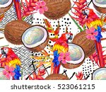 summer jungle pattern with... | Shutterstock .eps vector #523061215