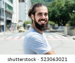 laughing hipster with grey... | Shutterstock . vector #523063021