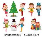 kids celebrate christmas  ... | Shutterstock .eps vector #523064575