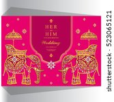 indian wedding card  elephant... | Shutterstock .eps vector #523065121
