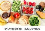 high fiber foods. healthy diet... | Shutterstock . vector #523069801