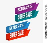 super sale  paper banner  sale... | Shutterstock .eps vector #523070941
