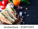 homemade sandwich with salad... | Shutterstock . vector #523071091