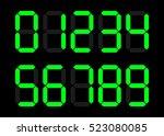 electronic figures. green dial... | Shutterstock .eps vector #523080085