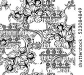 eclectic fabric seamless... | Shutterstock .eps vector #523084849
