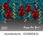 christmas tree branch on...   Shutterstock .eps vector #523085431