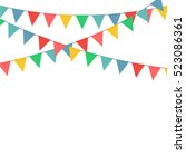 colorful bunting flag... | Shutterstock .eps vector #523086361
