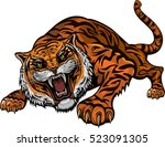 tiger face. tigers color tattoo | Shutterstock .eps vector #523091305