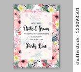 wedding invitation floral...   Shutterstock .eps vector #523093501