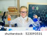 young girl making science... | Shutterstock . vector #523093531