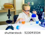 young girl making science... | Shutterstock . vector #523093534