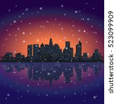 winter sity.city at night... | Shutterstock .eps vector #523099909