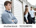gang of teenagers hanging out... | Shutterstock . vector #523108591
