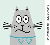 astonished and frightened cat.... | Shutterstock .eps vector #523109341