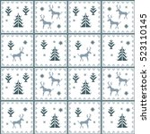 christmas seamless pattern....   Shutterstock . vector #523110145