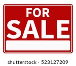 red and white for sale sign... | Shutterstock .eps vector #523127209