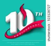 anniversary emblems 10... | Shutterstock .eps vector #523128727