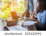 two young business working on... | Shutterstock . vector #523132591