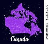 map canada constellation galaxy | Shutterstock .eps vector #523152277