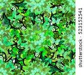green mandalas floral...   Shutterstock .eps vector #523152541