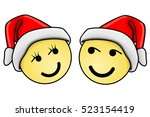 two smiling faces with... | Shutterstock . vector #523154419