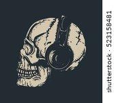 skull with headphones. dead...   Shutterstock .eps vector #523158481