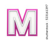 white and pink letter m. 3d... | Shutterstock . vector #523161397