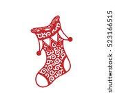 stocking christmas present .... | Shutterstock .eps vector #523166515