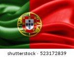 portugal flag of silk 3d... | Shutterstock . vector #523172839