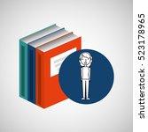 library books school woman... | Shutterstock .eps vector #523178965