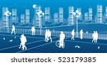 city scene  people walk on the... | Shutterstock .eps vector #523179385