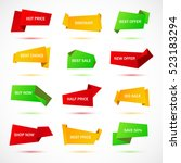 vector stickers  price tag ... | Shutterstock .eps vector #523183294