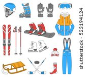 winter sports collection ... | Shutterstock .eps vector #523194124