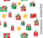 various christmas presents in... | Shutterstock . vector #523201939