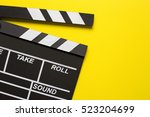 movie clapper on yellow... | Shutterstock . vector #523204699
