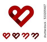 b letter red heart logo...   Shutterstock .eps vector #523205407
