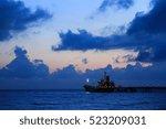 shipping port in the morning... | Shutterstock . vector #523209031