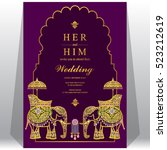 indian wedding card  elephant... | Shutterstock .eps vector #523212619