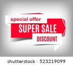 super sale white and red banner ... | Shutterstock .eps vector #523219099